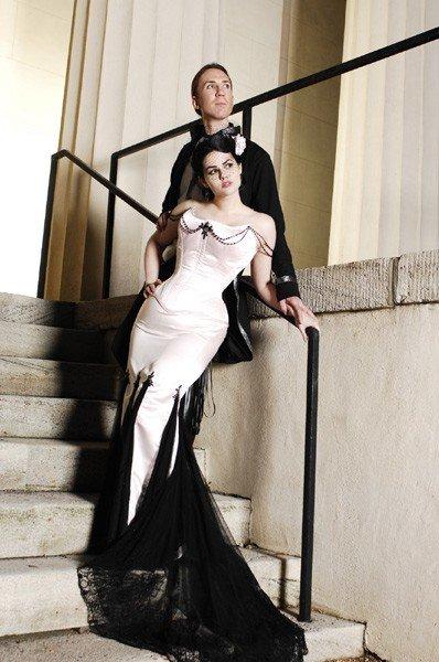 свадебное платье черно-белое